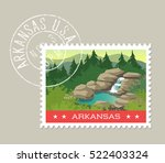 arkansas  postage stamp design. ... | Shutterstock .eps vector #522403324