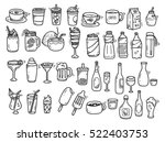 beverages doodle set on white... | Shutterstock .eps vector #522403753