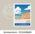 florida postage stamp design.... | Shutterstock .eps vector #522408880