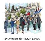 people in a street of paris  ... | Shutterstock .eps vector #522412408