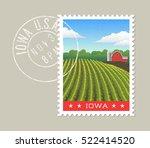 iowa postage stamp design.... | Shutterstock .eps vector #522414520