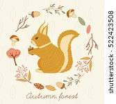 autumn forest card with... | Shutterstock .eps vector #522423508