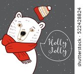 polar bear in red hat. | Shutterstock .eps vector #522428824