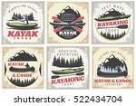 set of six kanoe and kayak... | Shutterstock .eps vector #522434704