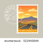 new mexico postage stamp design.... | Shutterstock .eps vector #522443044