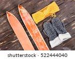 overhead view of retro ski... | Shutterstock . vector #522444040