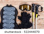 overhead view of ski and... | Shutterstock . vector #522444070