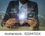 woman looks transparent monitor ... | Shutterstock . vector #522447214