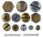 many metallic screw heads  nuts ... | Shutterstock . vector #522454630