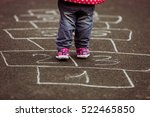 kid playing hopscotch on... | Shutterstock . vector #522465850