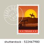 texas postage stamp design. ... | Shutterstock .eps vector #522467980