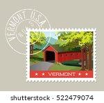 vermont postage stamp design.... | Shutterstock .eps vector #522479074