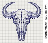 Ball Pen Buffalo Skull Sketch...