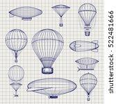 Hand Drawn Air Hot Balloons An...