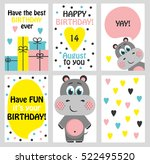 set of 6 cute creative cards... | Shutterstock .eps vector #522495520