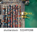 aerial view of cargo ship ...