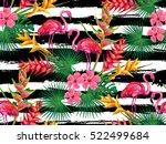 summer jungle pattern with with ... | Shutterstock .eps vector #522499684