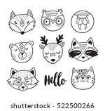 vector set of cute animals  ... | Shutterstock .eps vector #522500266