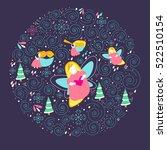 modern flat style angel circle. ... | Shutterstock .eps vector #522510154