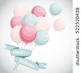 color glossy happy birthday... | Shutterstock .eps vector #522520438