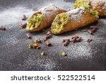 sweet homemade cannoli stuffed...   Shutterstock . vector #522522514