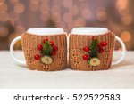 close up of two white mugs in... | Shutterstock . vector #522522583