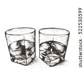 two glasses with liquid... | Shutterstock .eps vector #522530599