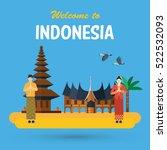 flat design indonesia  pura...   Shutterstock .eps vector #522532093