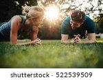 fit young man and woman... | Shutterstock . vector #522539509