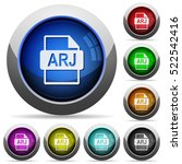arj file format icons in round... | Shutterstock .eps vector #522542416