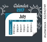 calendar july 2017 template icon | Shutterstock .eps vector #522542749