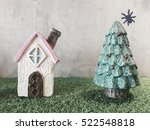 toy christmas house and fir... | Shutterstock . vector #522548818