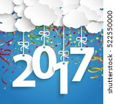 paper clouds with text 2017 and ... | Shutterstock .eps vector #522550000