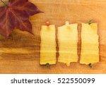 autumn leaves over wooden... | Shutterstock . vector #522550099