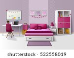 teen girl room modern interior... | Shutterstock .eps vector #522558019