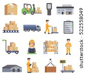 warehouse isolated flat icons... | Shutterstock .eps vector #522558049
