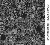 cartoon cute doodles hand drawn ... | Shutterstock .eps vector #522565930