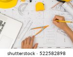 hand over construction plans... | Shutterstock . vector #522582898