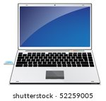 Laptop illustration with blue screen - stock vector