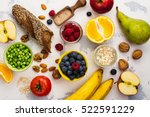 Small photo of Food rich of fiber. Healthy food background. Diet or healthy lifestyle concept. Selective focus