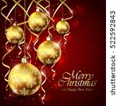 red background with christmas... | Shutterstock .eps vector #522592843