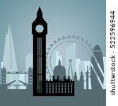 london skyline during the... | Shutterstock .eps vector #522596944
