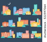 silhouettes of buildings. urban ... | Shutterstock .eps vector #522597064