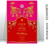 india wedding card  gold... | Shutterstock .eps vector #522604870