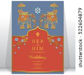 india wedding card  gold... | Shutterstock .eps vector #522604879
