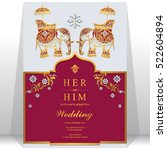 india wedding card  gold... | Shutterstock .eps vector #522604894