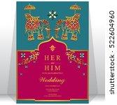 india wedding card  gold... | Shutterstock .eps vector #522604960