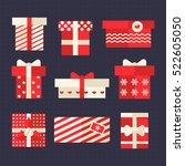 red christmas gift vector flat...   Shutterstock .eps vector #522605050