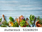 fresh kitchen herbs and spices... | Shutterstock . vector #522608254