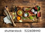 various colorful spices on... | Shutterstock . vector #522608440